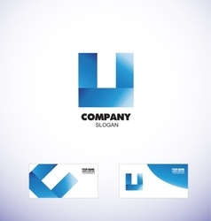 Blue letter u logo icon vector