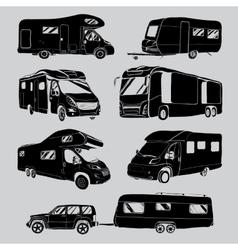 Cars recreational vehicles camper vans caravans vector