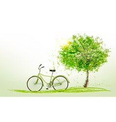 Summer background with a green tree and a bike vector
