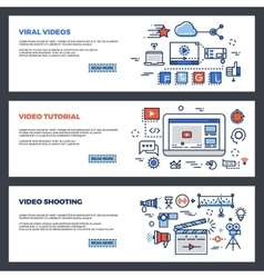 Video and digital marketing web banners set vector