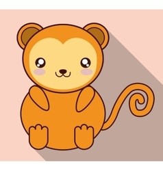 Kawaii monkey icon cute animal graphic vector