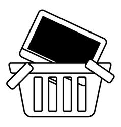 Basket buy online computer screen wireless outline vector