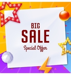 big sale banner with elements on paper on colorful vector image vector image