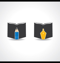 Book icon with pencil and nib stock vector