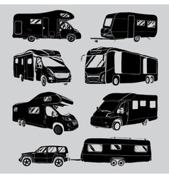 cars Recreational Vehicles Camper Vans Caravans vector image