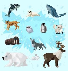 Cartoon arctic fauna set vector