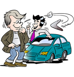 Cartoon of a car seller and a customer looking at vector