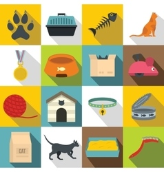 Cat care tools icons set flat style vector