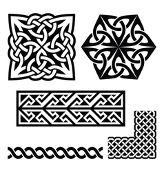 Celtic Irish and Scottish patterns - knots braids vector image