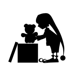 Christamas cute elf silhouette with gift vector