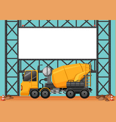 Construction site with blank board and cement vector