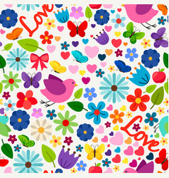 Cute spring love seamless pattern vector