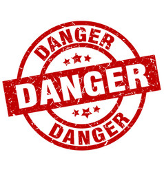 danger round red grunge stamp vector image vector image