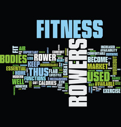 Fitness rowers burn flab text background word vector