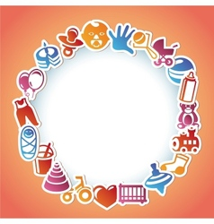 Frame with kid and toys stickers vector
