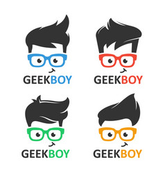 Geek or nerd logo set vector