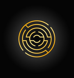 Gold circular maze icon vector