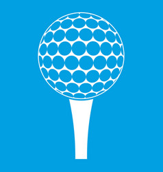 Golf ball on a tee icon white vector