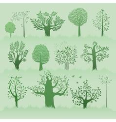 green trees set vector image vector image