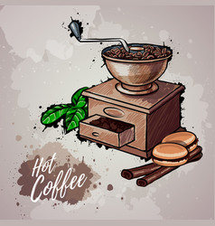 Hand drawn of coffee mill vector