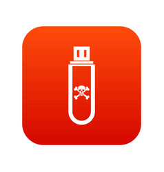 infected usb flash drive icon digital red vector image