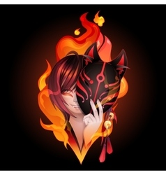 Japanese deamon fox vector image vector image