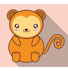 Kawaii monkey icon cute animal graphic vector