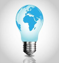 Lightbulb with world map vector image vector image