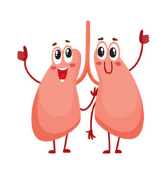 Pair of cute and funny smiling human lung vector