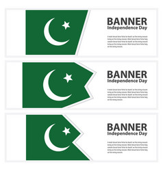Pakistan flag banners collection independence day vector