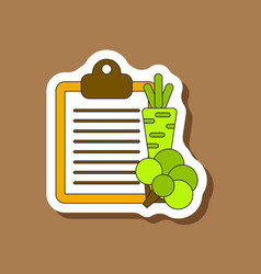 Paper sticker on stylish background vegetable menu vector
