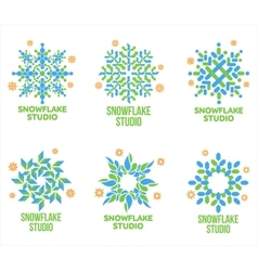Set of geometrical abstract snowflake logo vector
