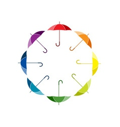 Silhouettes of umbrellas in rainbow colors vector