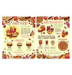 Street food fastfood snacks sketch menu vector