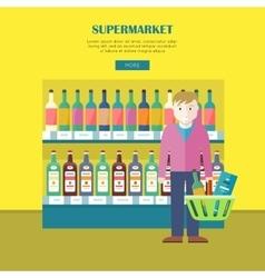 Supermarket concept web banner in flat design vector