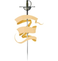 sword and banner vector image vector image