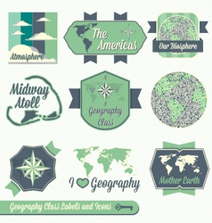 Vintage Geography Class Labels and Icons vector image