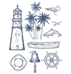 Vintage nautical set vector