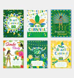 Welcome brazil carnival set poster invitation vector