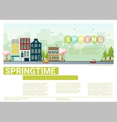 Hello spring cityscape background 7 vector image