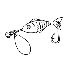 Fishing bait icon in outline style isolated on vector