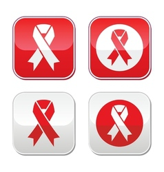 Red ribbon - aids hiv heart disease signs vector