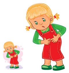 little girl clings to her stomach vector image