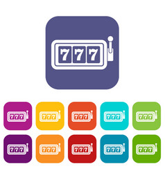 Lucky seven on slot machine icons set vector