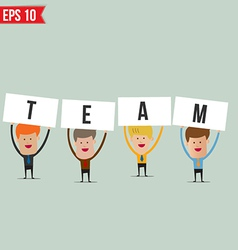 Business man showing teamwork - - eps10 vector