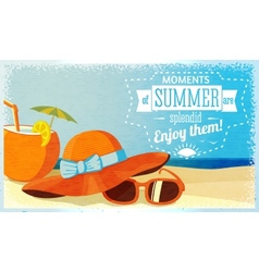 Summer enjoy banner with coconut cocktail hat and vector