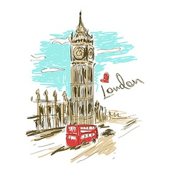 Sketch of big ben tower vector