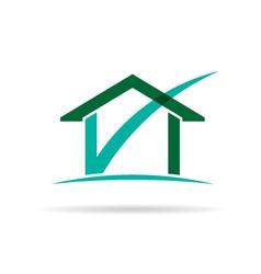 Checked house logo vector image