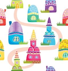 Pattern with houses vector