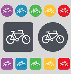 Bike icon sign a set of 12 colored buttons flat vector